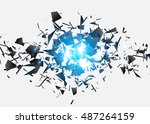 abstract black explosion.... | Shutterstock .eps vector #487264159