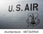 Small photo of NATO DAYS, OSTRAVA, CZECH REPUBLIC - SEPTEMBER 18, 2016: U.S. Air Force / Air National Guard - national military institutions. Black text and emblem on grey body of plane