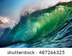 green sunset ocean wave for... | Shutterstock . vector #487266325