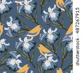 seamless pattern with iris... | Shutterstock .eps vector #487267915
