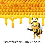 cartoon bee with honeycomb and... | Shutterstock .eps vector #487272205