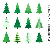 christmas tree set. vector... | Shutterstock .eps vector #487274644