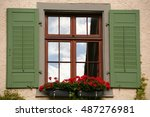 window with green shutters and... | Shutterstock . vector #487276981