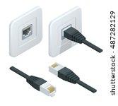 isometric vector network socket ... | Shutterstock .eps vector #487282129