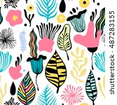 vector seamless pattern with... | Shutterstock .eps vector #487283155