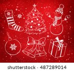 red and white vector hand drawn ... | Shutterstock .eps vector #487289014