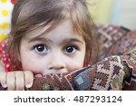 Stock photo portrait of cute sad little girl 487293124