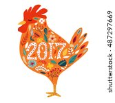 colorful poster of a rooster... | Shutterstock .eps vector #487297669