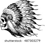 skull  in chief headdress | Shutterstock .eps vector #487303279