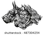 crazy barbarian with animals | Shutterstock .eps vector #487304254