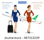 flight attendants vector... | Shutterstock .eps vector #487313239