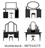 collection of silhouettes of a... | Shutterstock .eps vector #487314175