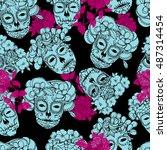 seamless background with skulls.... | Shutterstock .eps vector #487314454