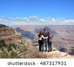 family hiking on vacation ... | Shutterstock . vector #487317931