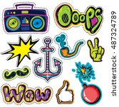 fashion patch badges with hands ... | Shutterstock .eps vector #487324789