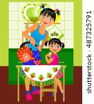vector illustration. mother... | Shutterstock .eps vector #487325791
