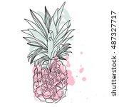 vector image of pineapple fruit ... | Shutterstock .eps vector #487327717