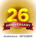 26th anniversary | Shutterstock .eps vector #487328809