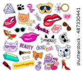 fashion patch badges. cats and... | Shutterstock .eps vector #487330441