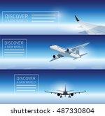 three transportation banner... | Shutterstock .eps vector #487330804