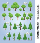 collection of polygonal trees ... | Shutterstock .eps vector #487330831