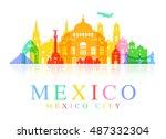 mexico travel landmarks. vector ... | Shutterstock .eps vector #487332304