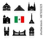 mexico travel landmarks icon... | Shutterstock .eps vector #487332325