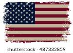 grunge american flag. | Shutterstock .eps vector #487332859