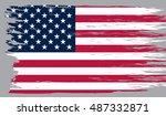 grunge american flag. | Shutterstock .eps vector #487332871