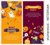 halloween banner set template.... | Shutterstock .eps vector #487334164