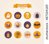 set of halloween icons on...   Shutterstock .eps vector #487334185