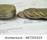 bill and coins for payment ... | Shutterstock . vector #487335325