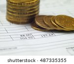 bill and coins for payment ... | Shutterstock . vector #487335355