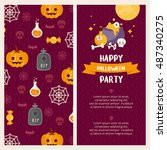 halloween banners set. place... | Shutterstock .eps vector #487340275