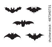 halloween black silhouettes of... | Shutterstock .eps vector #487340731