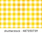 watercolor yellow checked... | Shutterstock . vector #487350739