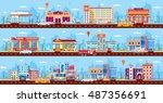 set stock vector illustration... | Shutterstock .eps vector #487356691