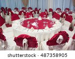 party tables set up in a... | Shutterstock . vector #487358905