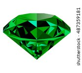 realistic shining green emerald ... | Shutterstock .eps vector #487359181
