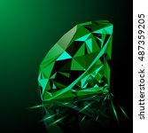 realistic shining green emerald ... | Shutterstock .eps vector #487359205