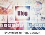 business blog concept button on ...   Shutterstock . vector #487360024