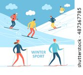 winter sport cartoon... | Shutterstock .eps vector #487367785