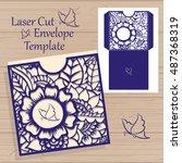 laser cut vector wedding... | Shutterstock .eps vector #487368319