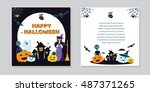 halloween concept banner with... | Shutterstock . vector #487371265