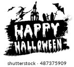 happy halloween hanwritten | Shutterstock .eps vector #487375909