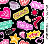 seamless pattern fashion... | Shutterstock .eps vector #487376935