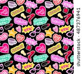 seamless pattern fashion... | Shutterstock .eps vector #487376941