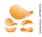 vector  set of  potato ripple... | Shutterstock .eps vector #487382194