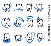teeth collection set. vector | Shutterstock .eps vector #487391311