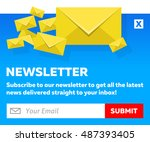 blue email newsletter subscribe ...   Shutterstock .eps vector #487393405